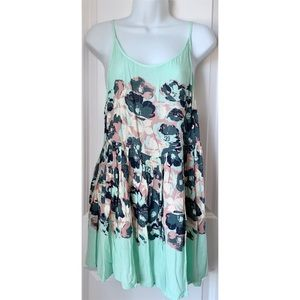 Free People Mint Green Floral Mini Slip Dress